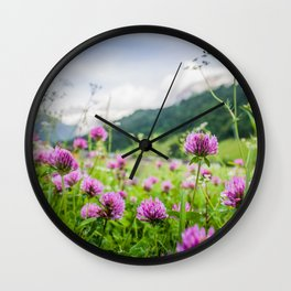 Pink Country Wildflowers   Europe Switzerland Nature Landscape Plant Photography Wall Clock