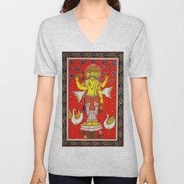 Hindu Lord Brahma 1 Unisex V-Neck