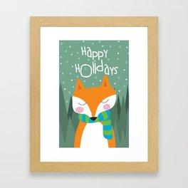 Cute Fox Happy Holidays Framed Art Print