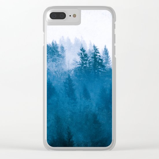 Blue Winter Day Foggy Trees Clear iPhone Case