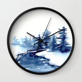 Blue Pine Trees Wall Clock