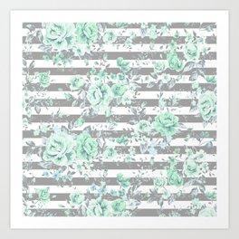 MINT FLORAL GRAY STRIPES SPRING Art Print