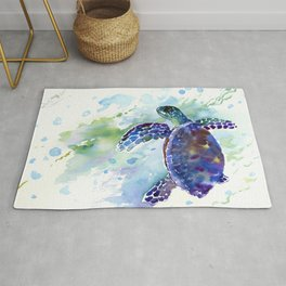 Happy Sea Turtle, aquatic marine blue purple turtle illustration Rug