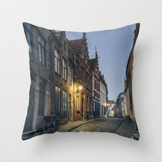 Street in Bruges Throw Pillow