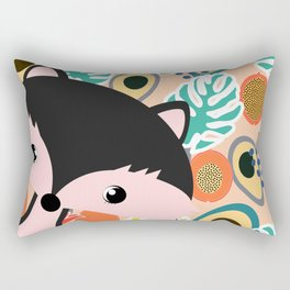 Fox, leaves and tropical fruits Rectangular Pillow