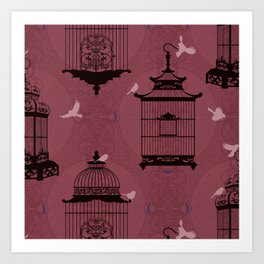 Rasberry Empty Brid Cages Art Print