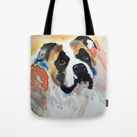 boxer Tote Bags featuring Boxer by Bowles Fine Paintings