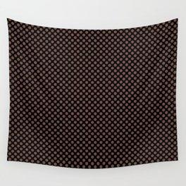 Black and Root Beer Polka Dots Wall Tapestry