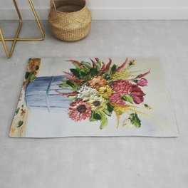 Country Fall Flowers in Silver Fruit Basket Rug