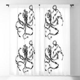 Skelopus Kraken Octopus Vintage Collage Blackout Curtain