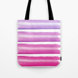 Simply hand painted pink and magenta stripes on white background  2 - Mix and Match Tote Bag