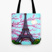 eiffel tower Tote Bags featuring Eiffel Tower by ArtLovePassion