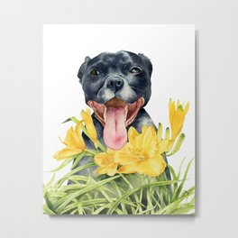 Joy | Pit Bull Dog and Daylily Watercolor Painting Metal Print