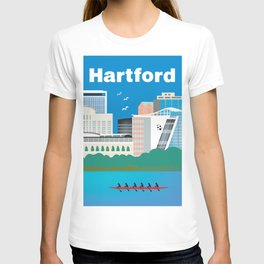 Hartford, Connecticut - Skyline Illustration by Loose Petals T-shirt