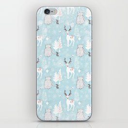 From Mice Bears Deers And Christmas-Cute teal X-Mas Pattern iPhone Skin
