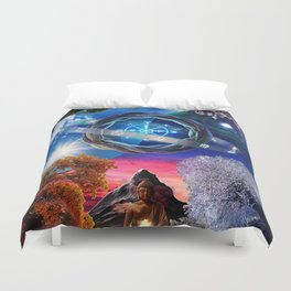 X . The Wheel Tarot Card Illustration Duvet Cover