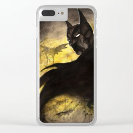 Dramatic guy in a Bat Costume watercolor Clear iPhone Case