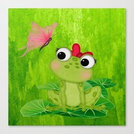 Cute Girl Frog  Canvas Print