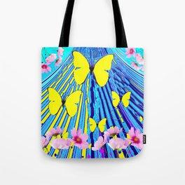 MODERN ART YELLOW BUTTERFLIES PINK FLOWERS BLUE PATTERN Tote Bag