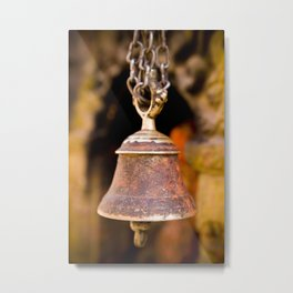 Antique Brass Temple Bell Nepal Metal Print
