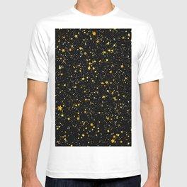 Glitter Stars3 - Gold Black T-shirt