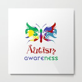 Autism Awareness Butterfly Metal Print