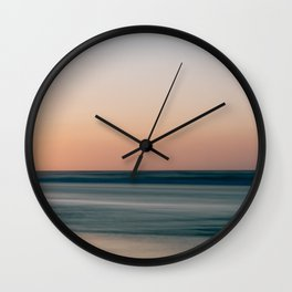 Soft summer sunset at the beach || ocean sea coast shore nature landscape calm surf photo digital art print || Color travel photography from Europe Wall Clock