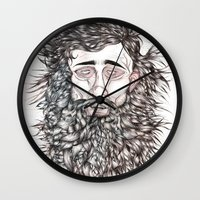 beard Wall Clocks featuring BEARD by Leah Cooper