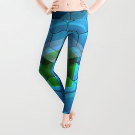 Contemporary abstract honeycomb, blue and green graphic grid with geometric shapes Leggings