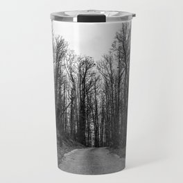 Black and white path in the forest Travel Mug