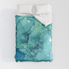 Teal Chrome Flowing Abstract Ink Comforters