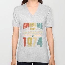 Awesome Since January 1974 T-Shirt Unisex V-Neck