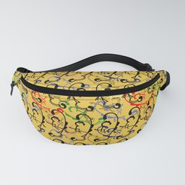 Silly Strings Filigree Yellow Background Fanny Pack