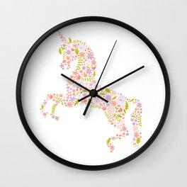 Floral Unicorn in Pink + Purple Wall Clock