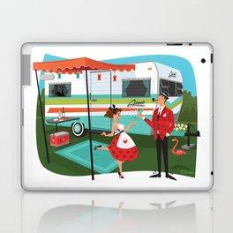 Happy Campers Vintage Travel Trailers, Caravans, Campers and Glamping Art Laptop & iPad Skin