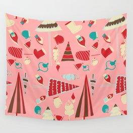 Vintage Christmas Pink Wall Tapestry