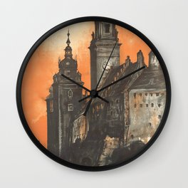Krakow 01 - Vintage Poster Wall Clock