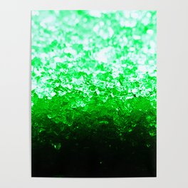 Emerald Green Ombre Crystals Poster