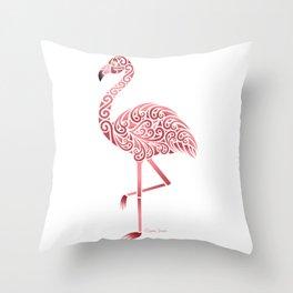 Funky Tribal Flamingo Throw Pillow