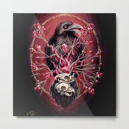 Black Raven Bird with Mice Skulls and Fruit Metal Print
