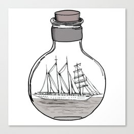 the ship in the bulb . illustration . Canvas Print