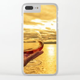 Cognac Sunset Swirl Clear iPhone Case