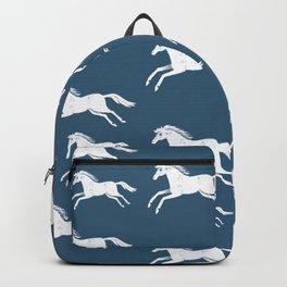 White horses on blue Backpack