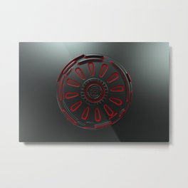 Dark futuristic technological shape with glowing lines Metal Print