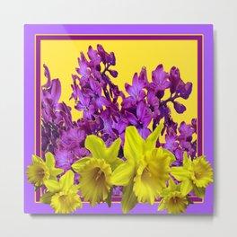 Sunny Yellow Daffodile Lilac  Purple Floral Art Metal Print