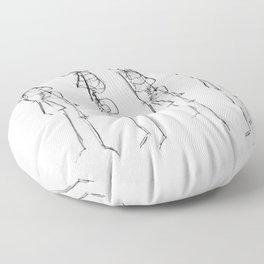 Black Ink Illustration of Two Human Skeletons Floor Pillow