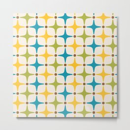 Mid Century Modern Star Pattern 816 Yellow Brown Turquoise Chartreuse Metal Print