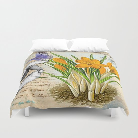 Vintage Crocus Flower #10 Duvet Cover