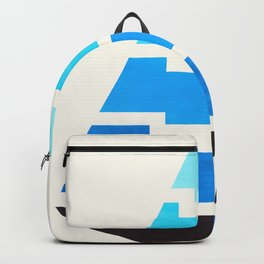 Cerulean Blue Gouache Painting Aztec Minimalist Abstract Geometric Pattern Pyramid Backpack