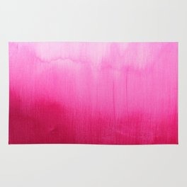 Modern fuchsia watercolor paint brushtrokes  Rug